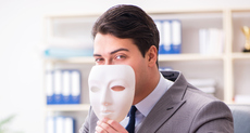 white collar criminal hiding behind acting mask