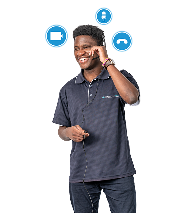 Skype for Business Enterprise Telephony. A team member has telephony icons floating around his head as he helps a client