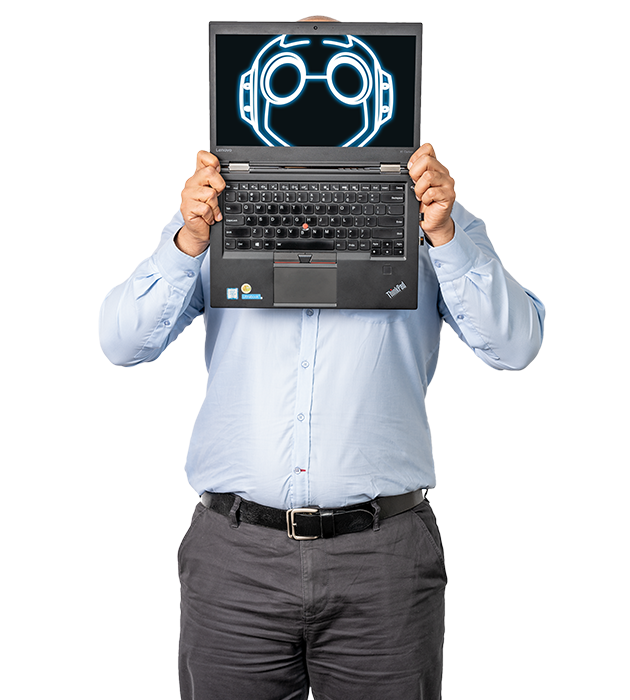 Software Development and transformation. A man holds a laptop in front of his face.