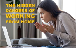 Hidden dangers of working from home - a woman looks worriedly at her PC screen