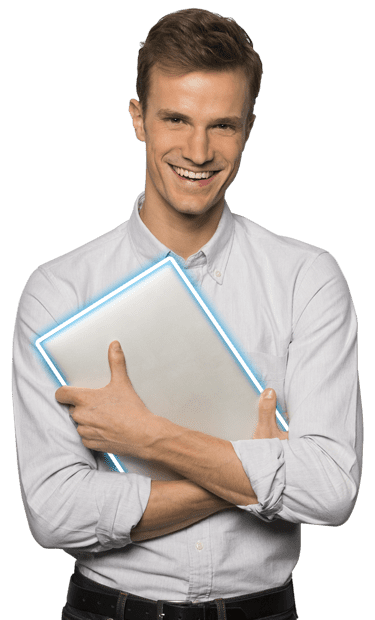 IT Support Brisbane. A C1 team member smiles while holding a laptop