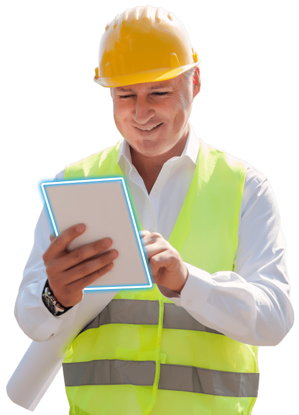 IT Support for Civil Engineering. A Civil Engineer uses his tablet on-site